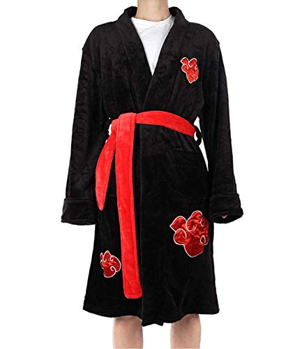 N/W Naruto Albornoz Uchiha Itachi Pijamas Ropa de dormir para hombres adultos, Bata de casa de manga larga de franela cálida de invierno, Uniforme de traje de cosplay de anime Negro L