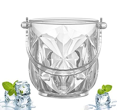 YMXLXL 1000ml Cubo de Hielo de Plástico - Mpermeable y Resistente al Desgaste - Fácil de Limpiar - Hecho a Mano Hielo Cubo de Champán - Cubitera para Vino y Champagne(2 Piezas, 12.8 × 12.8 × 13.5cm)