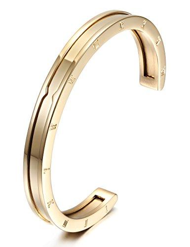 DEESSEYE Damen Herren Armreif Armband Armkette Offen Mit Gravur Pärchen Edelstahl Vergoldet (Gold)
