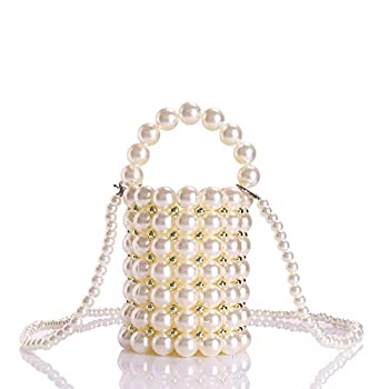 YIFEI Women Beaded Pearl Evening Bucket Handmade Bags with Detachable Chain for Wedding Party Medium