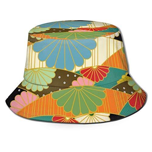XBYC Unisex Eimer Hut Mode Origami Japanisches Muster UV Packable Fisherman Cap Schwarz