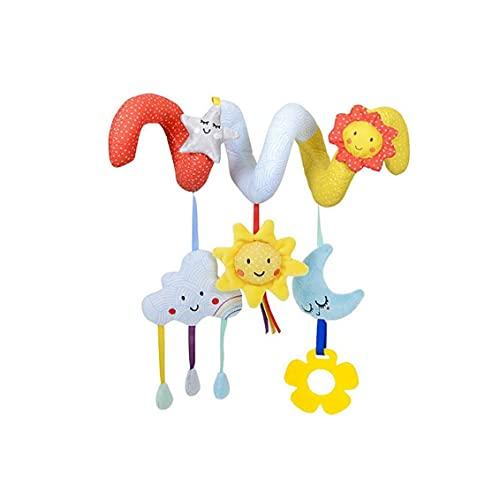 Cama Colgante del Pesebre del bebé de Juguete Juguetes de Peluche Espiral Animal Juguetes Cochecito de bebé con Mordedor (Nube y Sol) Juguetes para niños