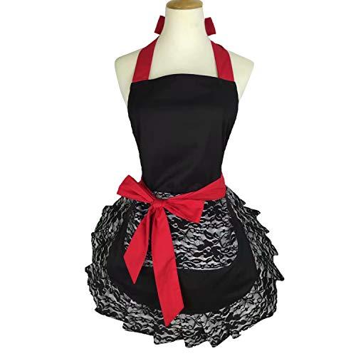 Violet Mist Women Apron Personalized Stylish Retro Lacy Vintage Flirty Maid Cooking Kitchen Working ApronsBlack Lace