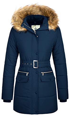 Orolay Women's Thickened Down Jacket Winter Hooded Coat with Faux Fur Trim Greenfur L