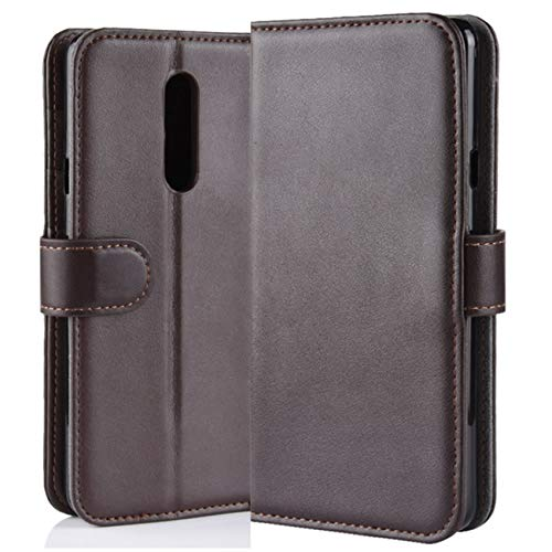 HualuBro LG G7 Fit Hülle, Echt Leder Leather Wallet HandyHülle Tasche Schutzhülle Flip Hülle Cover für LG G7 Fit/LG G7 Fit+ 2018 Smartphone (Braun)