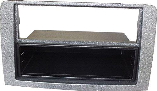 Mascherina autoradio 1 DIN Colore silver. Cassetto portaoggetti rimovibile