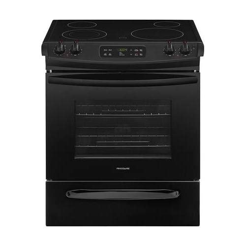 FFES3026TB 30 Slide-In Electric Range with 4 Elements Self-Clean Oven 4.6 cu. ft. Capacity 2 Racks and Storage Drawer in Black