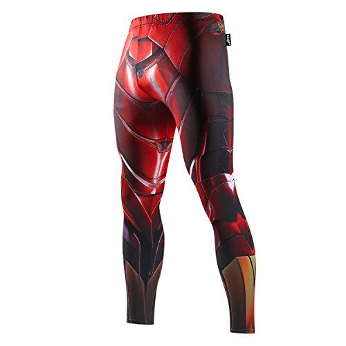 Nessfit Medias de compresión para hombre de superhéroe Pro Base Layer Leggings gimnasio largo running entrenamiento térmico (mediano, superhéroe 6)
