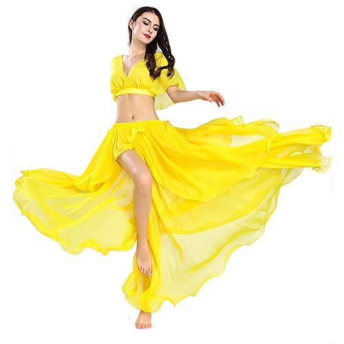 ROYAL SMEELA Danza del Vientre Faldas largas Tops Disfraces sexys Mujer Conjunto de Danza del Vientre Tops y Falda de Gasa de Alto Rendimiento Vestidos de Mujer Color sólido