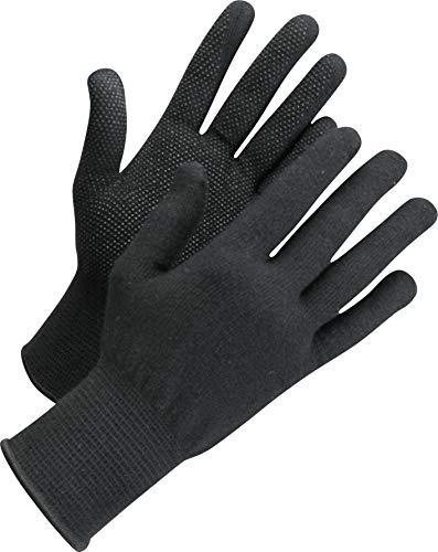 Worksafe 12 Paar Arbeitshandschuhe Baumwolle, Strickhandschuhe mit Noppen, L71-720, Gr. 10-11, schwarz