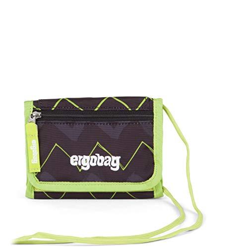 Ergobag Brustbeutel Drunter und DrüBär, Kleingeldfach, Sichtfenster, Schlüsselring, Schwarz Grün Zickzack