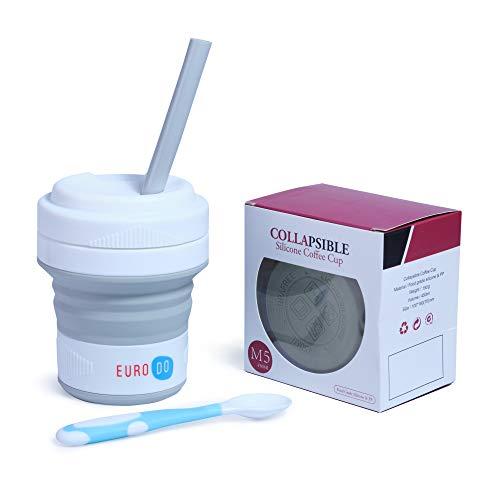 EURODO Tazza da caffè Grigio con Coperchio, Cannuccia e Cucchiaio - Travel Collapsible Cup - Tazza da Viaggio Pieghevole in Silicone Rutilizzabile - Tazza Portatile da caffè Senza BPA 450ML (Grigio)