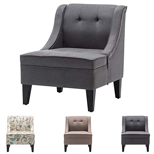 INMOZATA Occasional Chair Grey Linen Fabric Arm Accent Chair Spring Cushion Armchair for Living Room Bedroom Dining (Grey)