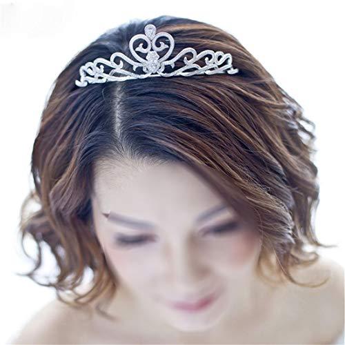 SUIWO Princess Crown Gems Rhinestone Tiara Kid Girl Prom Birthday Prinecess Party Bride Wedding Headdress Zircon Crown Wedding Dress Accessories Girlfriends Crown Birthday Gift (Color : Silver)