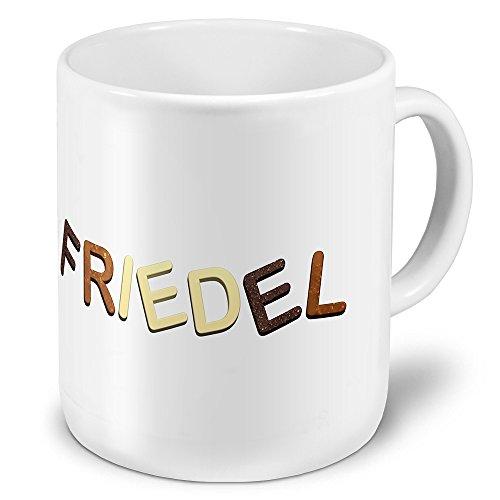 """XXL Riesen-Tasse mit Namen """"Friedel"""" - Jumbotasse mit Design Schokolade - Namens-Tasse, Kaffeebecher, Becher, Mug"""