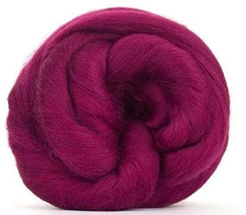 Tela de fibra de paraíso teñida de 64 hilos, color morado (parte superior de fibra de merino giratoria de lujo, parte superior de lana suave para girar con eje o rueda, fieltro, mezcla y tejido.