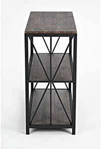 Vintage Dark Brown Black Metal Frame 3-Tier Console Table Bookcase Bookshelf
