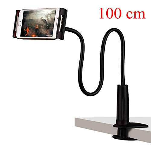 Ajcwhml Flexible tablet stand, 70/100cm long arm bed/desktop clip stand, supports 3.6 to 10.5 inch tablet 100cmblack