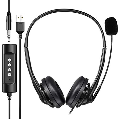 Newaner PC Headset, USB Headset/3.5mm Computer Headset, Stereo Sound Leicht Business Headset mit flexiblen Mikrofon, Telefon Headset für Skype Voip Teamspeak Mac PC Smartphone Tablet