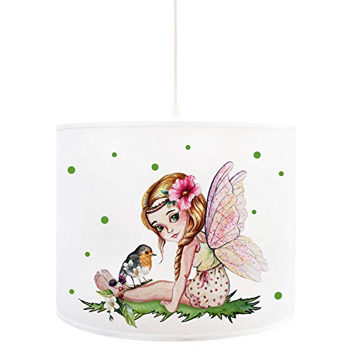 ilka parey wandtattoo-welt D95 Elfe Fee Lampe de Plafond avec Oiseau et Pois Blanc