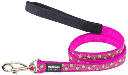 Red Dingo Hundeleine, Muster Sterne, 2,5cmx1,2m, Pink/Limettengrün