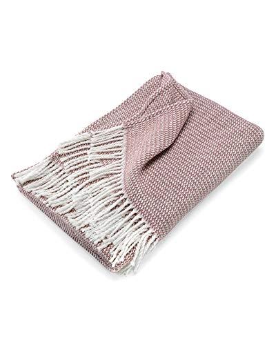 myHomery Sommerdecke Strick leicht & kuschelig - Wolldecke Fransen - Kuscheldecke Design modern Sofadecke - Decke Baumwolle - Altrosa | 130 x 170 cm