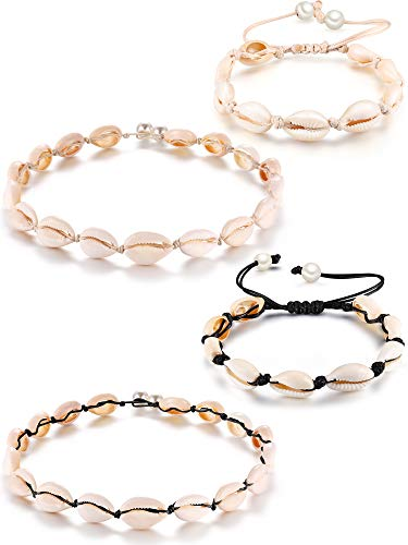 4 Pieces Natural Shell Choker Hawaii Cowrie Shell Necklace Set Summer Beach Seashell Anklets Bracelets Handmade Jewelry for Girls Ladies Holidays