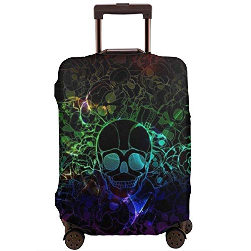 Thick Water-Resistant Luggage Protector Elastic Baggage Suitcase Cover Washable with Zipper -Colorful Skull Art Black