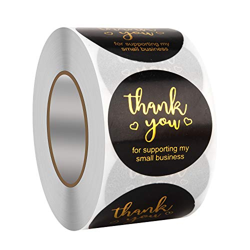 """Thank You Stickers Roll,500PCS 1.5"""" Thank You for Supporting My Small Business Stickers Black Foil Thank You Label Stickers for Bubble Mailers,Envelopes,Online,Retail Store,Handmade Goods,Package"""