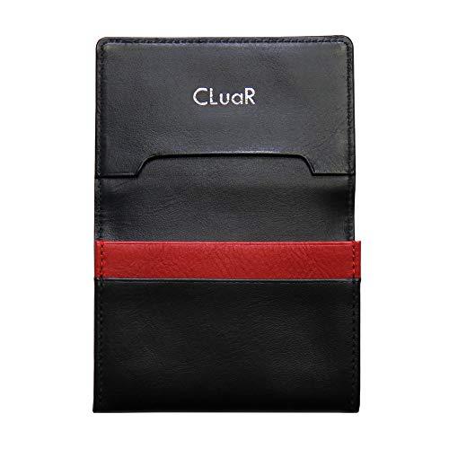 (シールアル) 名刺入れ 本革 50枚収納 レザー 革 カードケース サブポケット ササマチ W字マチ 大容量 バイカラー メンズ CLuaR-BI (14.ブラック×レッド×ブラック) 黒