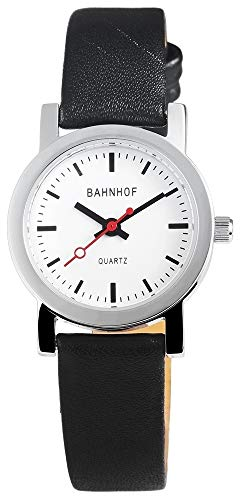 Bahnhof Damen Analog Quarz Uhr mit Leder Armband 100722000001
