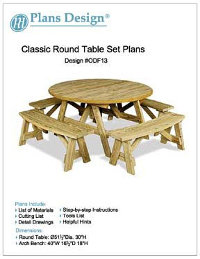 Classic Round Picnic Table Set Woodworking Plans / Pattern, #ODF13