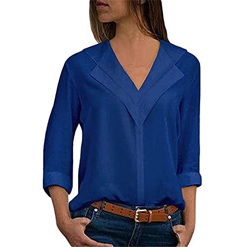 Camisa Mujer Gasa Manga Larga Suelta Transpirable con Cuello En V Camisa Casual Verano Elegante Y Cómoda Camisa De Oficina para Mujer Minimalista Color Puro Mujeres Tops E-Blue M