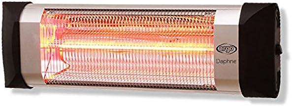 Argoclima Daphne Calefactor para exteriores de fibra de carbono, IP 55, Silver/negro