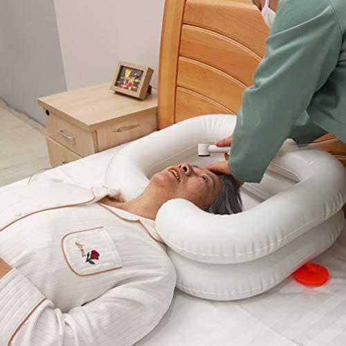 Aufblasbares Haarwaschbecken Shampoo Becken mit Mit Wassersack Duschkopf Luftpumpe für bettlägerige Menschen Haarwaschwanne Patientendusche Kopfwanne