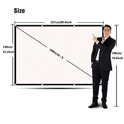 Projector Screen 100 Inch, Portable Projector Screen with 16:9 HD 4K Screen for School Home Theatre Cinema, Foldable Projector Screen - 227cm(W) X 130cm(H) Matte White Widescreen
