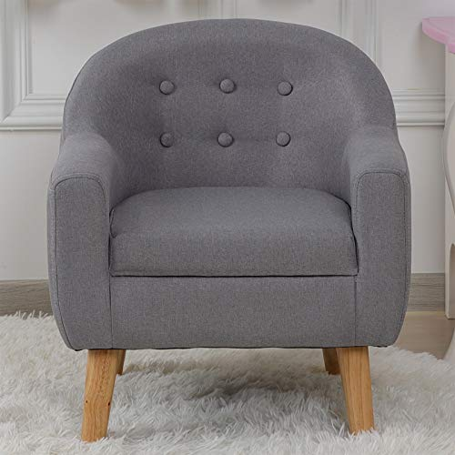 Kids Sofa, Linen Fabric Upholstered Baby Sofa Chair with...