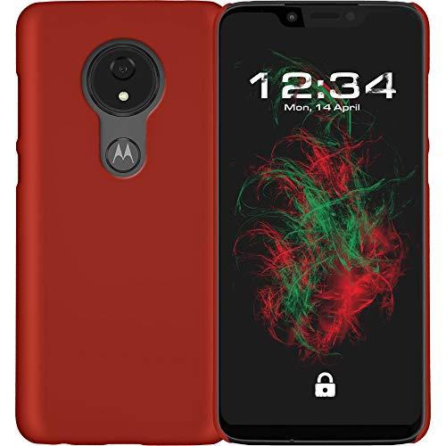 Baluum Hardcase gummierte rote Hülle kompatibel mit Motorola Moto G7 Power Schutzhülle Case Cover Handyhülle Hartschale aus robusten Kunststoff