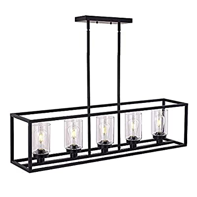 XILICON Black Linear Chandeliers for Dining Rooms,Kitchen Island Farmhouse Lighting Fixture Industrial Rustic Ceiling Hanging 5 Light Modern Pendant Light with Glass Shade