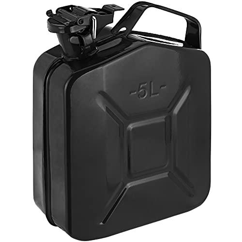 PrimeMatik - Bidón metálico para Gasolina o diésel 5 L Negro
