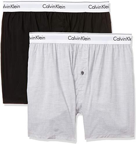 Calvin Klein underwear Herren 2p Slim Fit Boxer Hüft-Shorts, Mehrfarbig (Black/Grey Heather Bhy), Medium (2erPack)