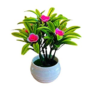 Afco Artificial Mini Potted Plants,Artificial Plant Pot Hibiscus Flower Hotel Garden Decor Plastic Colorful Imitation Flower Pot for Home Office Desk Room Greenery Decoration Pink