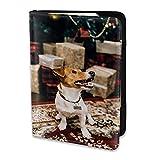Soporte para Pasaporte Divertido Jack Russell Terrier Perros Sentado Piso Cuero de PU Cartera de Viaje Estuche para Pasaporte Fundas para Pasaporte 5.5 Pulgadas