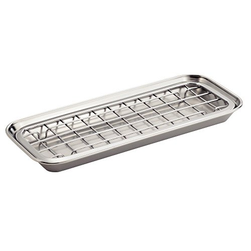 Price comparison product image iDesign 2-Piece Polished Stainless Steel Gia Sponge Tray,  Grey