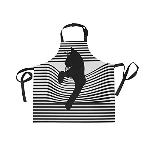 ALAZA Cute Black Cat With Stripe Apron Kitchen Cooking Baking BBQ Apron for Woman Girl and Men,Adjustable Waterproof 2 Pockets Chef Bib Aprons