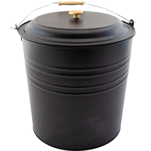 New 12L Metal ASH Bucket with LID Wooden Handle Fireplace Container Litre Coal