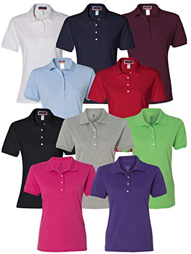 Multipack Jerzees Bundle Women Bulk Sport Polo T-Shirt 10 Pack - Make Your Own Assorted Color Set