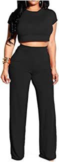 Women Casual Solid Crop Tops High Waist Long Pants Sets 2 Piece Outfit