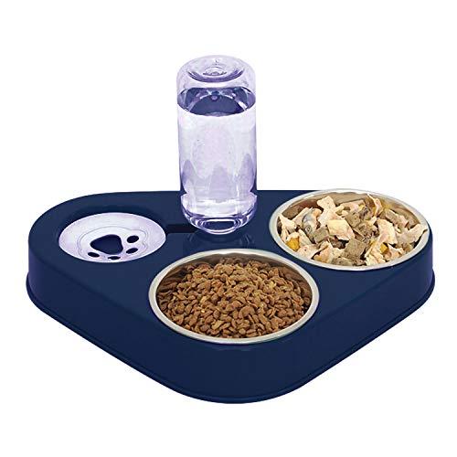 Tazón de Alimentación para Gatos 3 en 1 Comedero Elevado de Acero Inoxidable con Bebedero Automático (Azul)