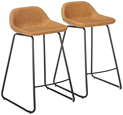 """Cortesi Home Ava Counterstools in Saddle Brown faux Leather, 25"""" High"""